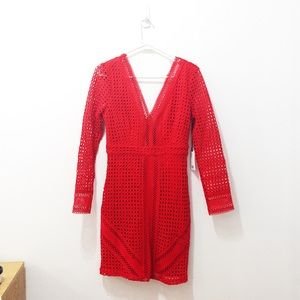 Red ASTR The Label Netted Minidress